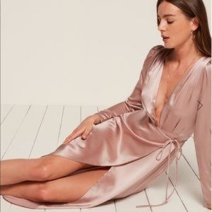 Reformation Gabrielle blush silk wrap dress
